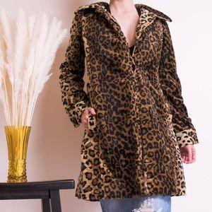 Jackets & Blazers - Leopard Print women's collared swing jacket coat